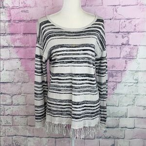 Chaser 100% linen striped pullover fringe sweater